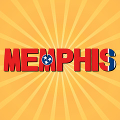 Memphis flag text with sunburst illustration
