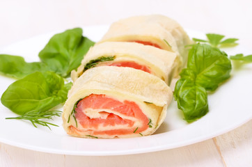 Lavash rolls with salmon, cheese and herbs