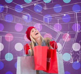 Composite image of blonde in winter clothes with shopping bags