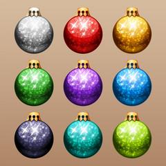 Set of Christmas Balls with Glitter