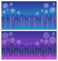 firework over sky in city night
