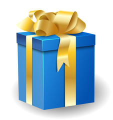 Gift box with gold ribbon