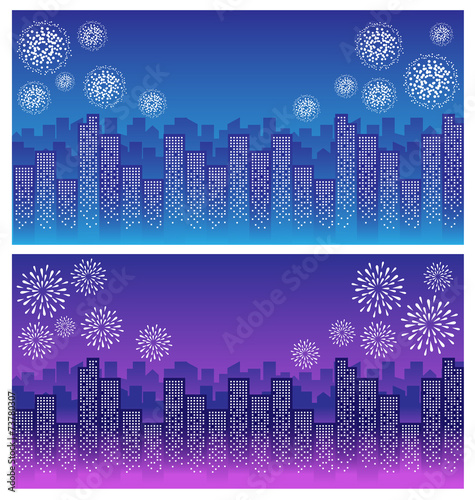 fajerwerk na niebie w nocy w mieście
