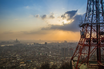 Seoul Cityscape View at N Seoul Tower in South Korea