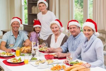 Family in santa hat looking at camera at christmas time
