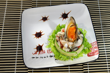 Sushi menu dish of mussels