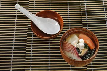 Sushi menu sushi fish soup