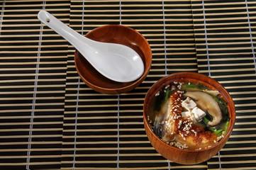 Sushi menu sushi fish soup with mushrooms
