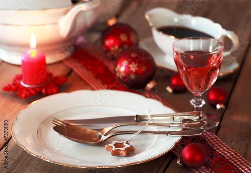 Papiers peints Table preparee gemütliches Weihnachtsessen