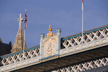 Crest Badge detail, Tower Bridge, London, UK