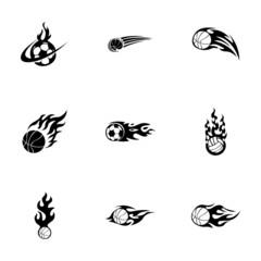 Vector fire sport balls icons set