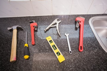 Plumbing tools on the counter