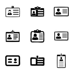 Vector id card icons set