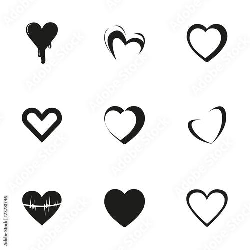 Zdjęcia na płótnie, fototapety, obrazy : Vector hearts icons set