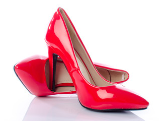 Red shoes with high heels