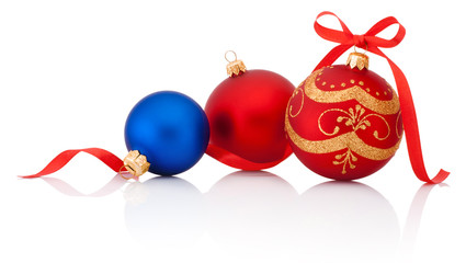 Three decorations Christmas ball with ribbon bow Isolated on whi