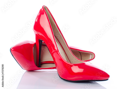 Red shoes with high heels - 73782181