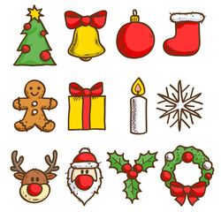 Christmas icons set. Sketch style.