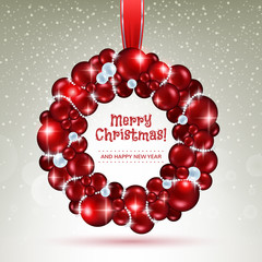 Red and white christmas balls wreath.