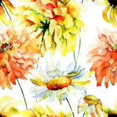 Beautiful chrysanthemum and chamomile flowers