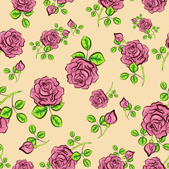 Vector seamless background with roses
