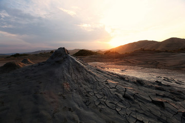 Mud Volcano at sunset light