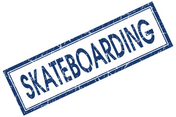 skateboarding blue square stamp isolated on white background