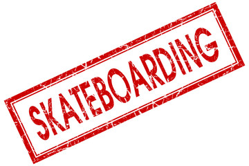 skateboarding red square stamp isolated on white background