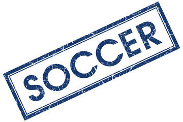 soccer blue square stamp isolated on white background