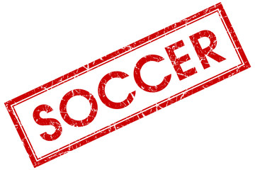 soccer red square stamp isolated on white background