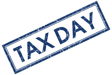 tax day blue square stamp isolated on white background