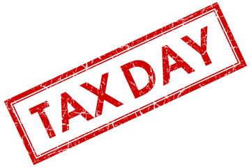 tax day red square stamp isolated on white background