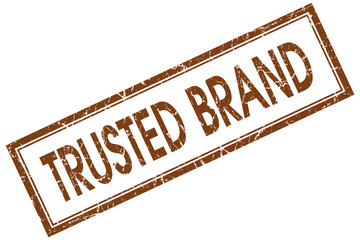trusted brand brown square stamp isolated on white background
