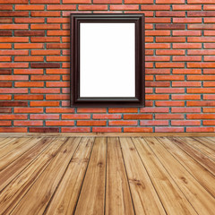 Frame photo on red brick wall and wood perspective background.
