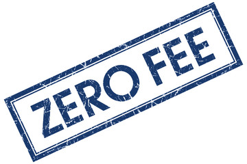 zero fee blue square stamp isolated on white background