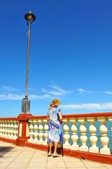 Senior woman looking the sea, Chipiona, Cadiz, Spain
