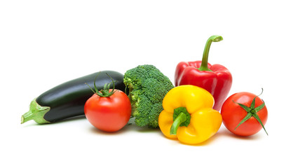 fresh vegetables isolated on white background close-up
