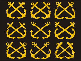 Crossed anchor set