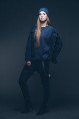 Woman jeans winter fashion wearing blue cap. Long blonde hair. S