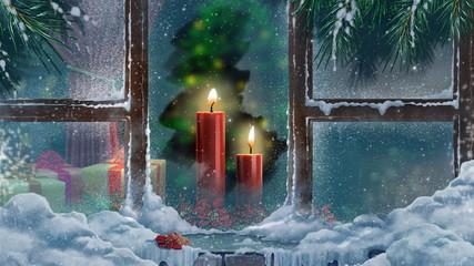 свеча  за  окном