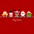 Angel, Snowman, Rudolph, Santa & Tree Gift Red