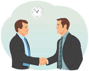 Two smiling businessman in suits is handshaking