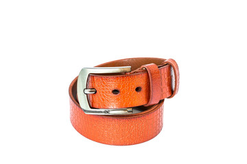 leather belt for men on white background