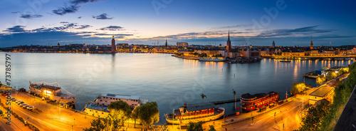 Leinwandbild Motiv Scenic summer night panorama of  Stockholm, Sweden