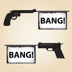 two handguns fire banner with text eps10