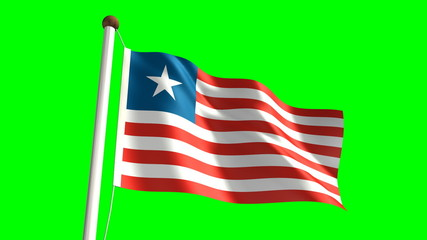 Liberian flag (seamless & green screen)