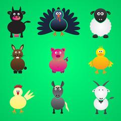 colorful farm animals simple icons set eps10