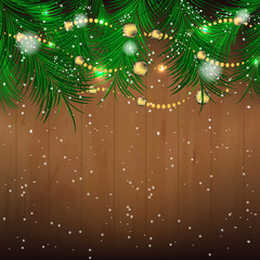 Christmas background with pine needles and bauble