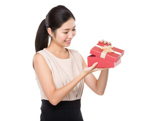 Woman open with gift box