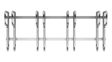 top view of street bicycle rack isolated on white background